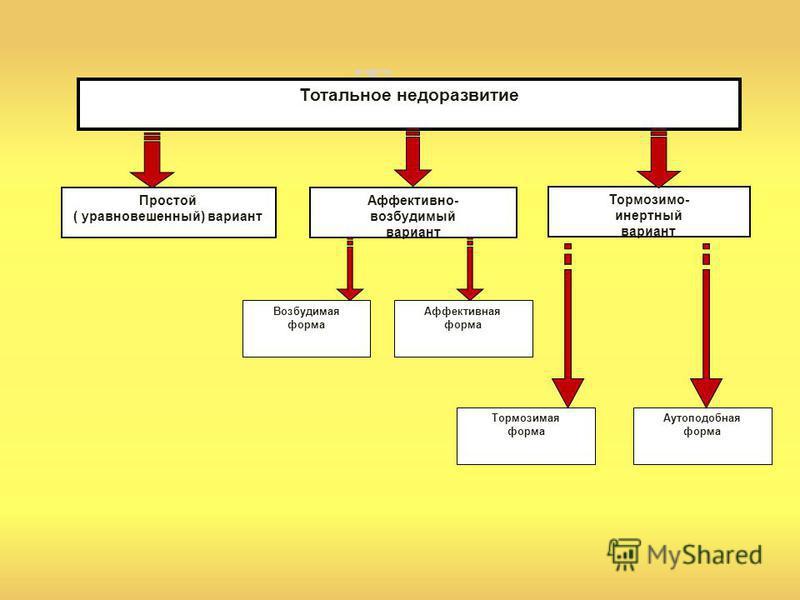Тот Тормозимо- инертный вариант Тотальное недоразвитие Аффективно- возбудимый вариант Возбудимая форма Простой ( уравновешенный) вариант Аффективная форма Тормозимая форма Аутоподобная форма