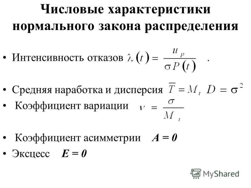 Числовые характеристики нормального закона распределения Интенсивность отказов. Средняя наработка и дисперсия Коэффициент вариации Коэффициент асимметрии А = 0 Эксцесс Е = 0