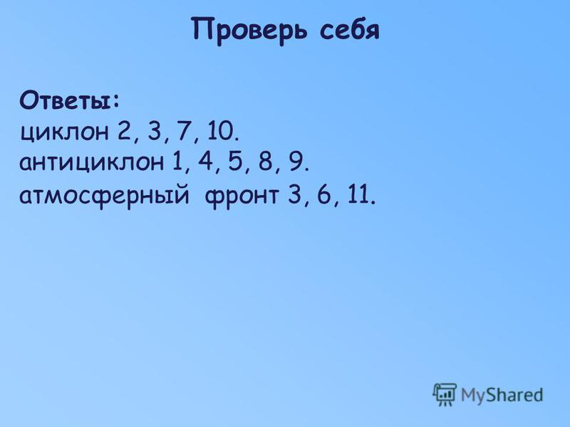 Проверь себя Ответы: циклон 2, 3, 7, 10. антициклон 1, 4, 5, 8, 9. атмосферный фронт 3, 6, 11.