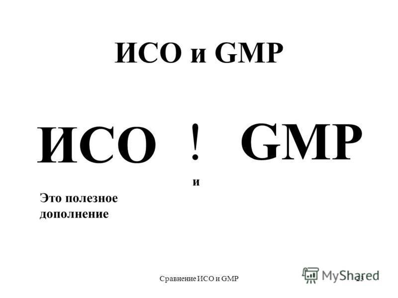 Сравнение ИСО и GMP23 ИСО и GMP ИСО !GMP Это полезное дополнение и