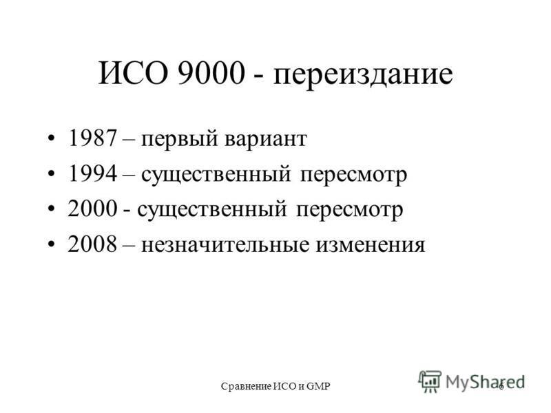 Сравнение ИСО и GMP6 ИСО 9000 - переиздание 1987 – первый вариант 1994 – существенный пересмотр 2000 - существенный пересмотр 2008 – незначительные изменения