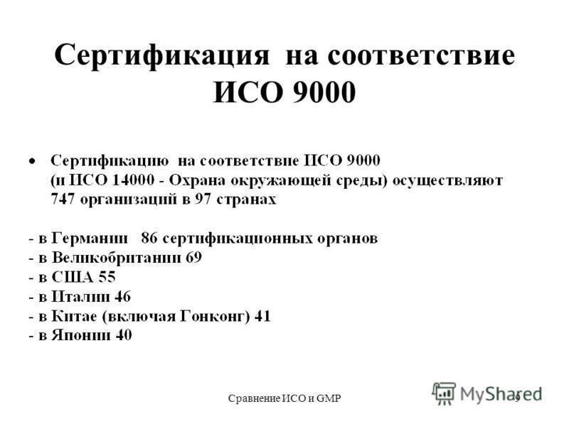 Сравнение ИСО и GMP9 Сертификация на соответствие ИСО 9000