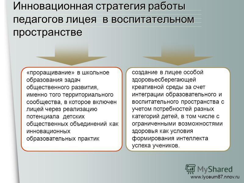 www.lyceum87.nnov.ru Инновационная стратегия работы педагогов лицея в воспитательном пространстве «проращивание» в школьное образования задач общественного развития, именно того территориального сообщества, в которое включен лицей через реализацию по
