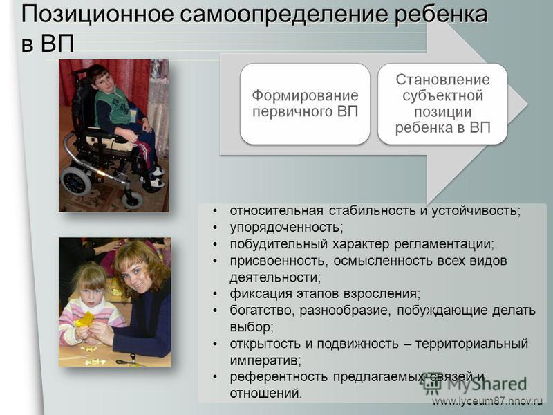 www.lyceum87.nnov.ru относительная стабильность и устойчивость; упорядоченность; побудительный характер регламентации; присвоенность, осмысленность всех видов деятельности; фиксация этапов взросления; богатство, разнообразие, побуждающие делать выбор