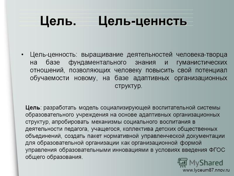www.lyceum87.nnov.ru Цель: разработать модель социализирующей воспитательной системы образовательного учреждения на основе адаптивных организационных структур, апробировать механизмы социального воспитания в деятельности педагога, учащегося, коллекти