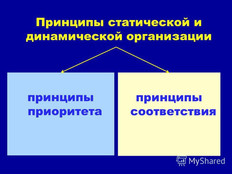Принципы статической и динамической организации принципы приоритета принципы соответствия