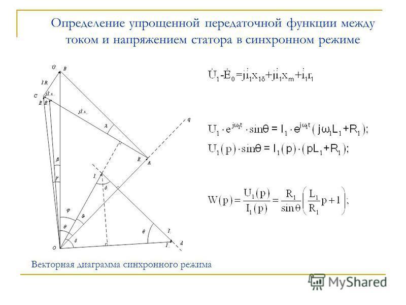 Определение упрощенной передаточной функции между током и напряжением статора в синхронном режиме Векторная диаграмма синхронного режима
