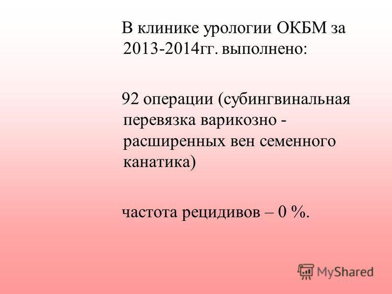В клинике урологии ОКБМ за 2013-2014 гг. выполнено: 92 операции (субингвинальная перевязка варикозно - расширенных вен семенного канатика) частота рецидивов – 0 %.