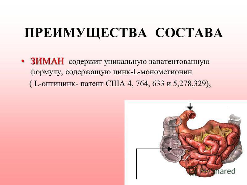 ПРЕИМУЩЕСТВА СОСТАВА ЗИМАНЗИМАН содержит уникальную запатентованную формулу, содержащую цинк-L-монометионин ( L-оптицинк- патент США 4, 764, 633 и 5,278,329),