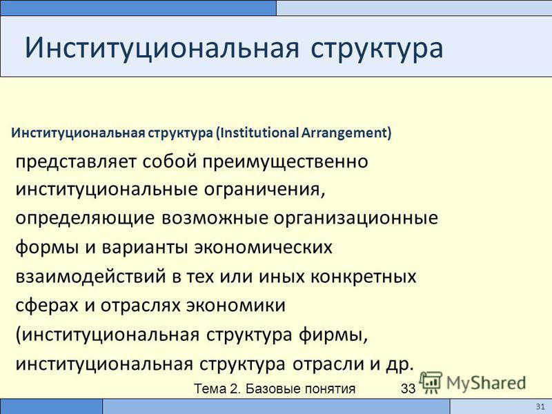 Тема 2. Базовые понятия институционального анализа 33 Институциональная структура Институциональная структура (Institutional Arrangement) представляет собой преимущественно институциональные ограничения, определяющие возможные организационные формы и