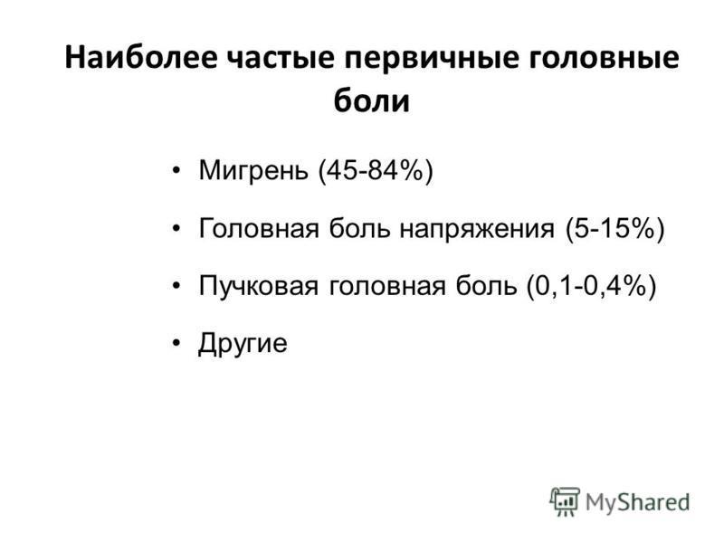 Наиболее частые первичные головные боли Мигрень (45-84%) Головная боль напряжения (5-15%) Пучковая головная боль (0,1-0,4%) Другие