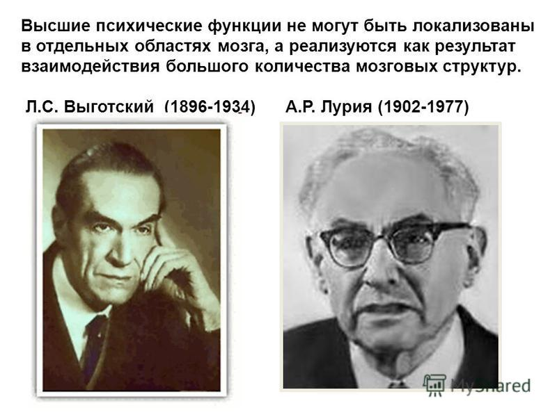 Высшие психические функции не могут быть локализованы в отдельных областях мозга, а реализуются как результат взаимодействия большого количества мозговых структур. Л.С. Выготский (1896-1934) А.Р. Лурия (1902-1977)