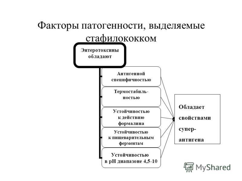 Факторы патогенности, выделяемые стафилококком Энтеротоксины обладают Антигенной специфичностью Термостабиль- ностью Устойчивостью к действию формалина Устойчивостью к пищеварительным ферментам Устойчивостью в рН диапазоне 4,5- 10 Обладает свойствами