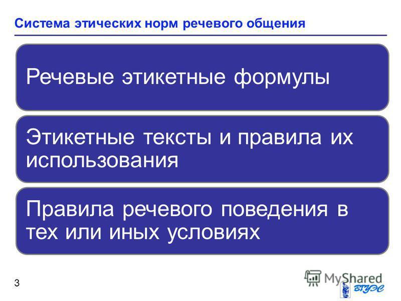 Система этических норм речевого общения 3 Речевые этикетные формулы Этикетные тексты и правила их использования Правила речевого поведения в тех или иных условиях
