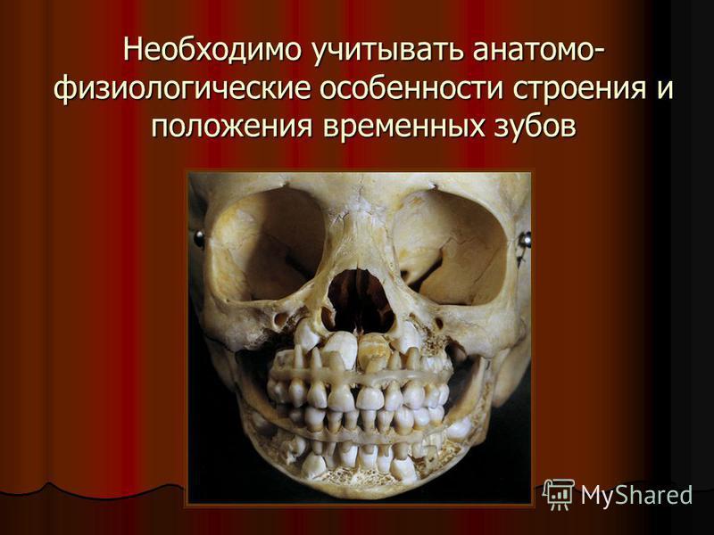 Необходимо учитывать анатомо- физиологические особенности строения и положения временных зубов