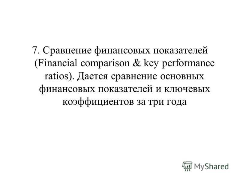 7. Сравнение финансовых показателей (Financial comparison & key performance ratios). Дается сравнение основных финансовых показателей и ключевых коэффициентов за три года