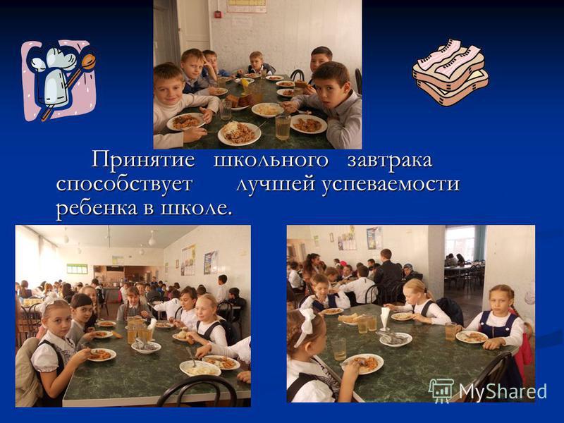 Принятие школьного завтрака способствует лучшей успеваемости ребенка в школе. Принятие школьного завтрака способствует лучшей успеваемости ребенка в школе.