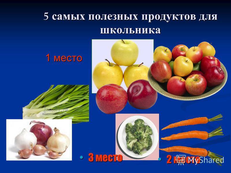 5 самых полезных продуктов для школьника 1 место 2 место 2 место 3 место 3 место