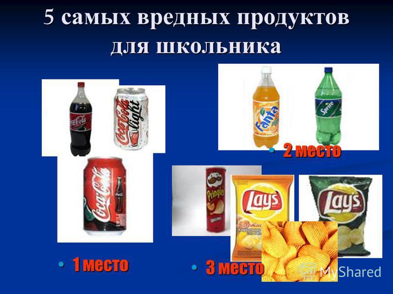 5 самых вредных продуктов для школьника 1 место 1 место 2 место 2 место 3 место 3 место
