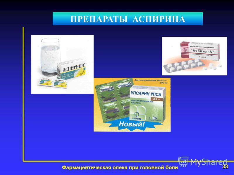 33 Фармацевтическая опека при головной боли ПРЕПАРАТЫ АСПИРИНА