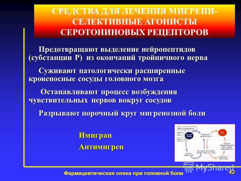42 Фармацевтическая опека при головной боли СРЕДСТВА ДЛЯ ЛЕЧЕНИЯ МИГРЕНИ- СЕЛЕКТИВНЫЕ АГОНИСТЫ СЕРОТОНИНОВЫХ РЕЦЕПТОРОВ Предотвращают выделение нейропептидов (субстанции Р) из окончаний тройничного нерва Предотвращают выделение нейропептидов (субстан