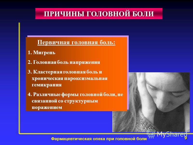 9 Фармацевтическая опека при головной боли ПРИЧИНЫ ГОЛОВНОЙ БОЛИ Первичная головная боль: 1. Мигрень 2. Головная боль напряжения 3. Кластерная головная боль и хроническая пароксизмальная гемикрания 4. Различные формы головной боли, не связанной со ст
