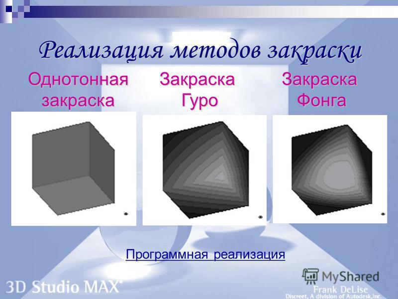 Реализация методов закраски Программная реализация Однотонная закраска Закраска Гуро Закраска Фонга
