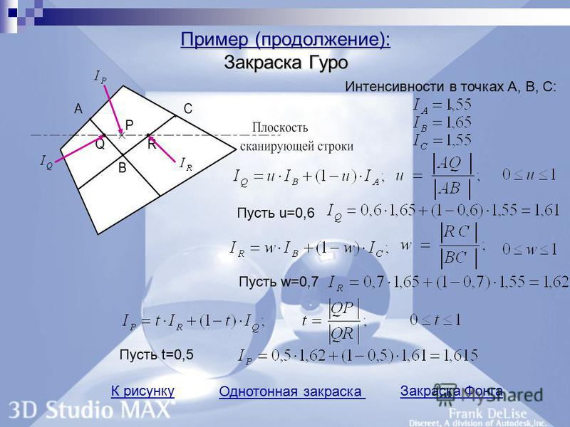 Пример (продолжение): краска Гуро Пример (продолжение): Закраска Гуро К рисунку Однотонная закраска Закраска Фонга Интенсивности в точках А, В, С:. Пусть u=0,6 Пусть w=0,7 Пусть t=0,5