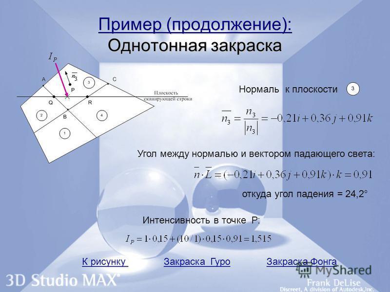 Пример (продолжение): Однотонная закраска Нормаль к плоскости Угол между нормалью и вектором падающего света: откуда угол падения = 24,2° Интенсивность в точке Р: К рисунку Закраска Гуро Закраска Фонга