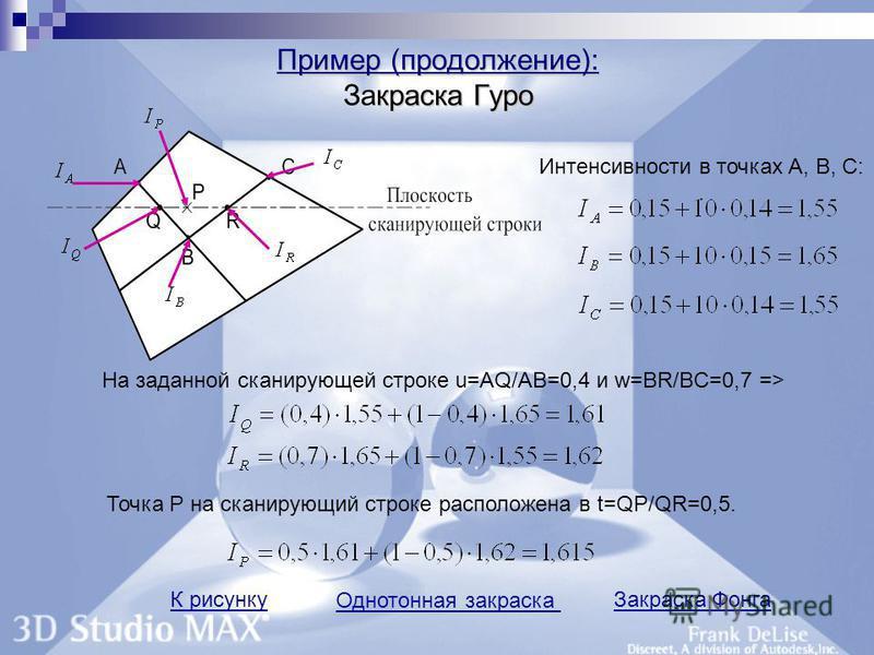 Пример (продолжение): краска Гуро Пример (продолжение): Закраска Гуро Интенсивности в точках А, В, С:. На заданной сканирующей строке u=AQ/AB=0,4 и w=BR/BC=0,7 => Точка Р на сканирующий строке расположена в t=QP/QR=0,5. К рисунку Однотонная закраска