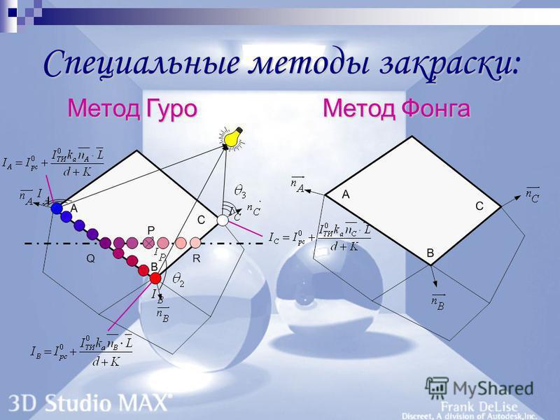 Специальные методы закраски Специальные методы закраски: Метод Гуро Метод Фонга