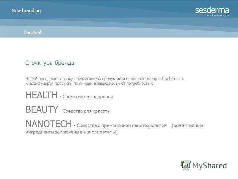 New branding Renewal Новый бренд дает оценку предлагаемым продуктам и облегчает выбор потребителю, классифицируя продукты по линиям в зависимости от потребностей: HEALTH - Средства для здоровья BEAUTY - Средства для красоты NANOTECH - Средства с прим