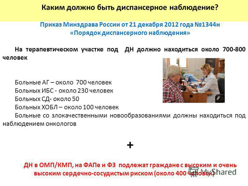 Каким должно быть диспансерное наблюдение? Приказ Минздрава России от 21 декабря 2012 года 1344 н «Порядок диспансерного наблюдения» На терапевтическом участке под ДН должно находиться около 700-800 человек Больные АГ – около 700 человек Больных ИБС