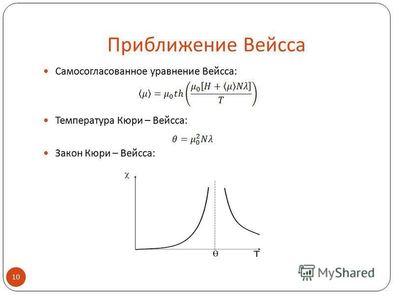 Приближение Вейсса Самосогласованное уравнение Вейсса: Температура Кюри – Вейсса: Закон Кюри – Вейсса: 10