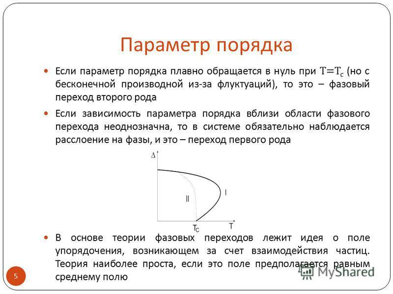 Параметр порядка Если параметр порядка плавно обращается в нуль при T=T c (но с бесконечной производной из-за флуктуаций), то это – фазовый переход второго рода Если зависимость параметра порядка вблизи области фазового перехода неоднозначна, то в си