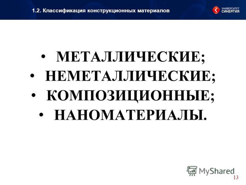 МЕТАЛЛИЧЕСКИЕ; НЕМЕТАЛЛИЧЕСКИЕ; КОМПОЗИЦИОННЫЕ; НАНОМАТЕРИАЛЫ. 13 1.2. Классификация конструкционных материалов