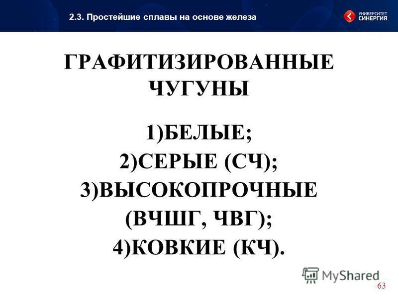 ГРАФИТИЗИРОВАННЫЕ ЧУГУНЫ 1)БЕЛЫЕ; 2)СЕРЫЕ (СЧ); 3)ВЫСОКОПРОЧНЫЕ (ВЧШГ, ЧВГ); 4)КОВКИЕ (КЧ).. 63 2.3. Простейшие сплавы на основе железа