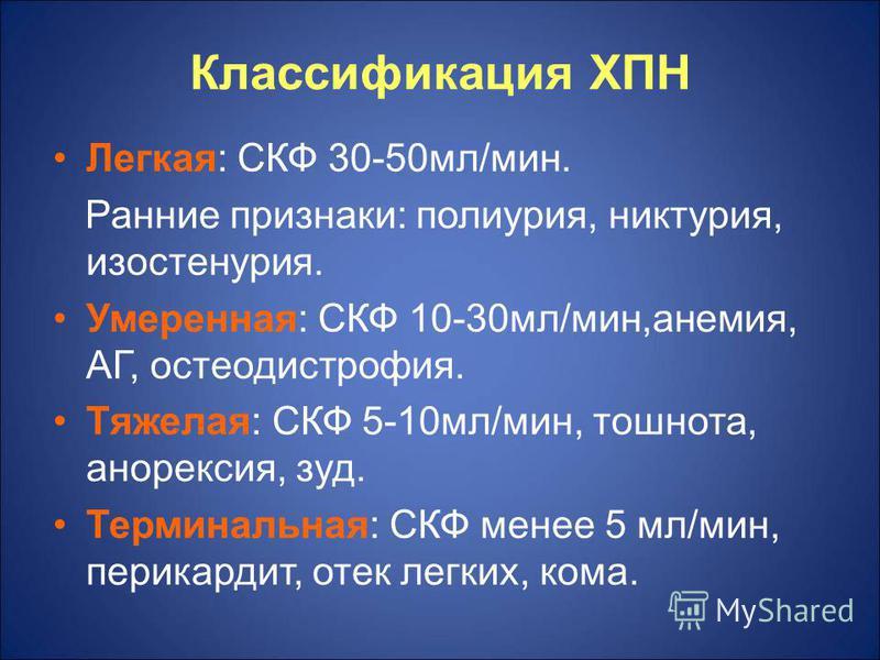 Классификация ХПН Легкая: СКФ 30-50 мл/мин. Ранние признаки: полиурия, никтурия, изостенурия. Умеренная: СКФ 10-30 мл/мин,анемия, АГ, остеодистрофия. Тяжелая: СКФ 5-10 мл/мин, тошнота, анорексия, зуд. Терминальная: СКФ менее 5 мл/мин, перикардит, оте