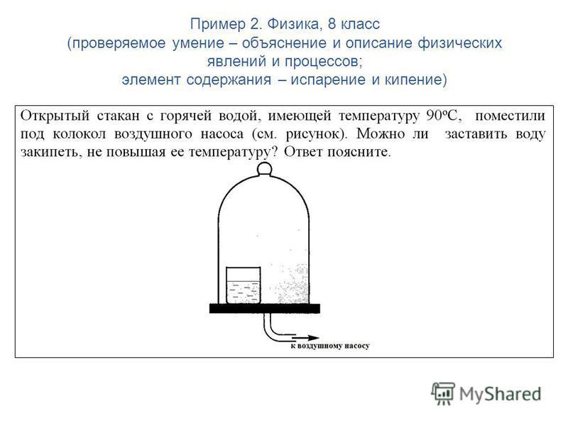 Пример 2. Физика, 8 класс (проверяемое умение – объяснение и описание физических явлений и процессов; элемент содержания – испарение и кипение)