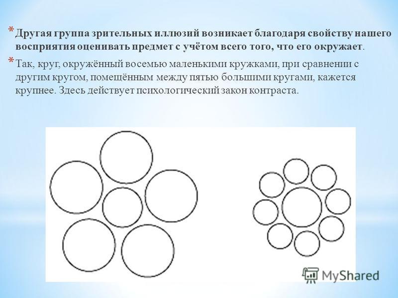 * Другая группа зрительных иллюзий возникает благодаря свойству нашего восприятия оценивать предмет с учётом всего того, что его окружает. * Так, круг, окружённый восемью маленькими кружками, при сравнении с другим кругом, помещённым между пятью боль