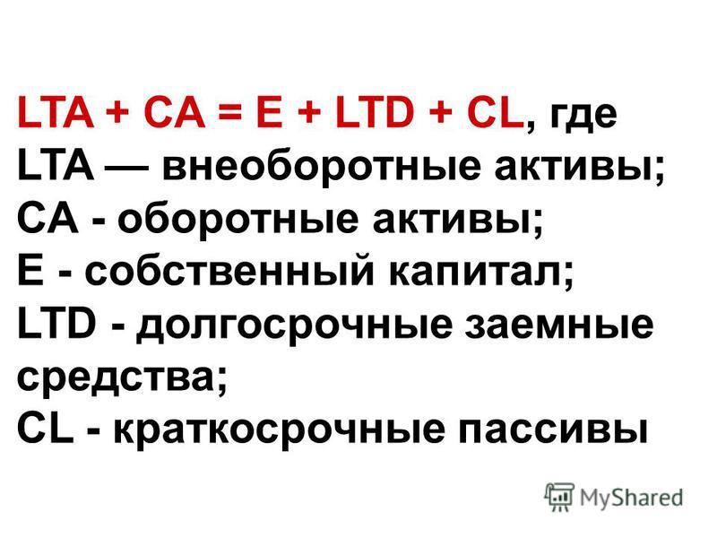 LTA + СА = Е + LTD + CL, где LTA внеоборотные актывы; СА - оборотные актывы; Е - собственный капитал; LTD - долгосрочные заемные средства; CL - краткосрочные пассивы
