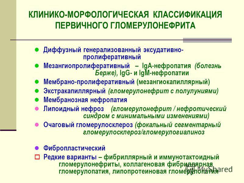 КЛИНИКО-МОРФОЛОГИЧЕСКАЯ КЛАССИФИКАЦИЯ ПЕРВИЧНОГО ГЛОМЕРУЛОНЕФРИТА l Диффузный генерализованный экссудативно- пролиферативный l Мезангиопролиферативный – IgA-нефропатия (болезнь Берже), IgG- и IgM-нефропатии l Мембрано-пролиферативный (мезангиокапилля