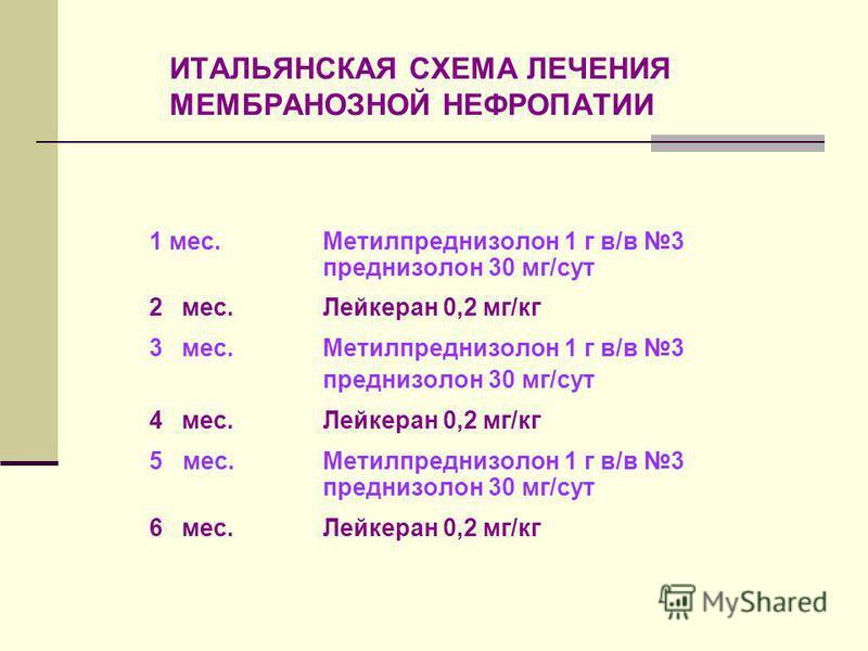 ИТАЛЬЯНСКАЯ СХЕМА ЛЕЧЕНИЯ МЕМБРАНОЗНОЙ НЕФРОПАТИИ 1 мес. Метилпреднизолон 1 г в/в 3 преднизолон 30 мг/сут 2 мес.Лейкеран 0,2 мг/кг 3 мес. Метилпреднизолон 1 г в/в 3 преднизолон 30 мг/сут 4 мес.Лейкеран 0,2 мг/кг 5 мес. Метилпреднизолон 1 г в/в 3 пред