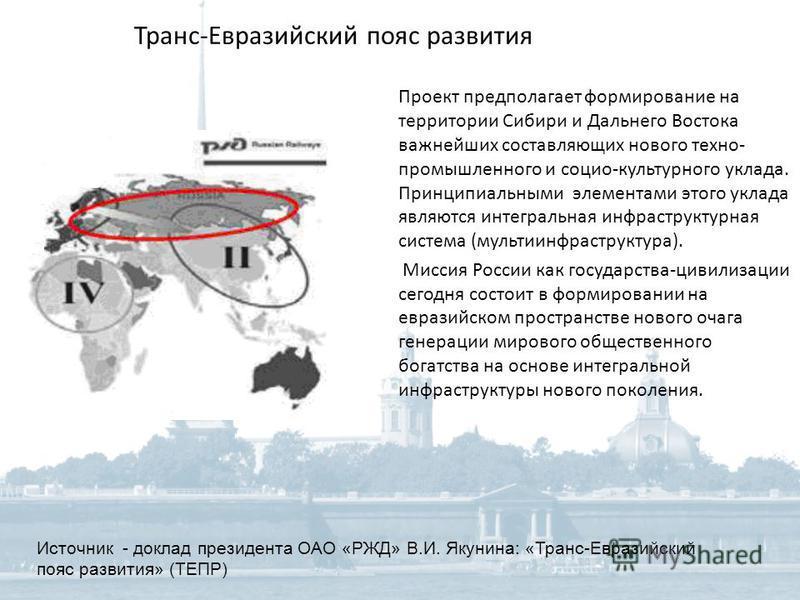 Транс-Евразийский пояс развития Проект предполагает формирование на территории Сибири и Дальнего Востока важнейших составляющих нового техно- промышленного и социо-культурного уклада. Принципиальными элементами этого уклада являются интегральная инфр
