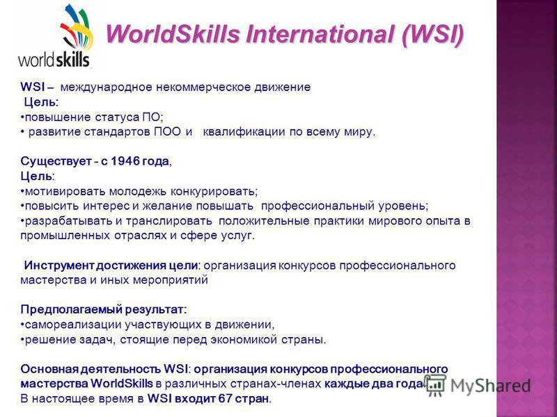 WSI – международное некоммерческое движение Цель: повышение статуса ПО; развитие стандартов ПОО и квалификации по всему миру. Существует - с 1946 года, Цель: мотивировать молодежь конкурировать; повысить интерес и желание повышать профессиональный ур