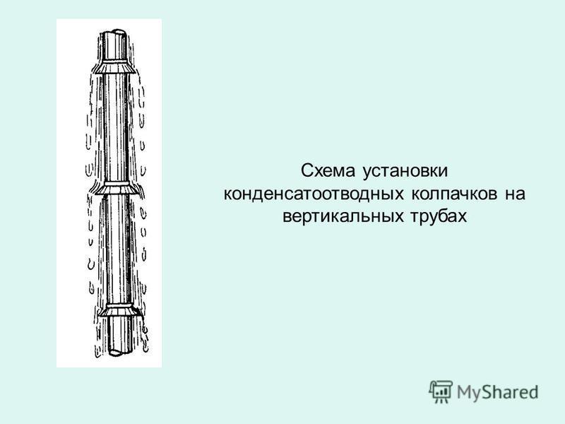Схема установки конденсатоотводных колпачков на вертикальных трубах