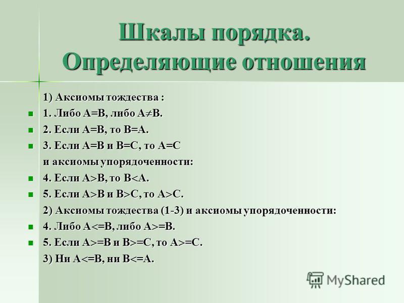 Шкалы порядка. Определяющие отношения 1) Аксиомы тождества : 1) Аксиомы тождества : 1. Либо А=В, либо А В. 1. Либо А=В, либо А В. 2. Если А=В, то В=А. 2. Если А=В, то В=А. 3. Если А=В и В=С, то А=С 3. Если А=В и В=С, то А=С и аксиомы упорядоченности: