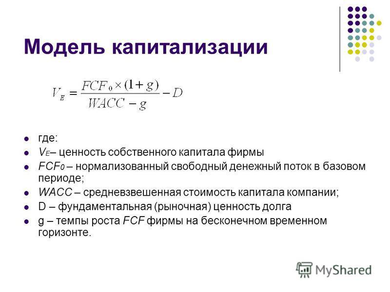 Основные модели оценки бизнеса на основе денежного потока V = CFt / (1+r)t t=1 Модель DCF Модель капитализации FCF
