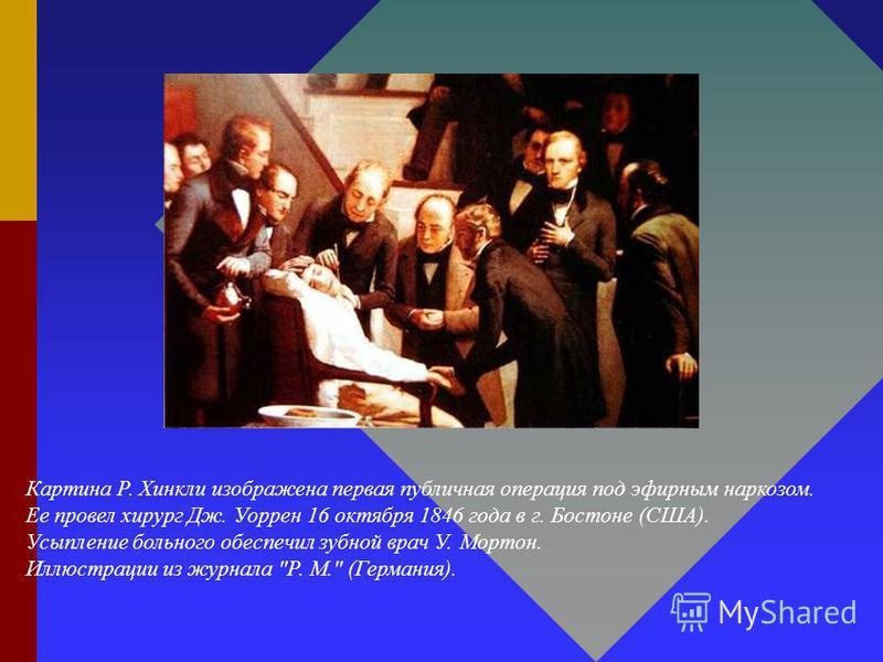 Картина Р. Хинкли изображена первая публичная операция под эфирным наркозом. Ее провел хирург Дж. Уоррен 16 октября 1846 года в г. Бостоне (США). Усыпление больного обеспечил зубной врач У. Мортон. Иллюстрации из журнала Р. М. (Германия).