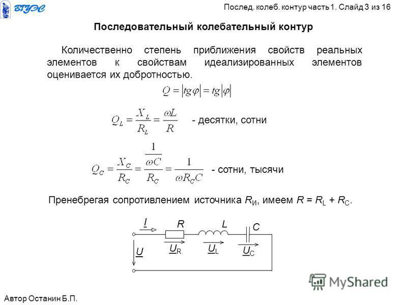 R L C URUR ULUL UCUC I U Количественно степень приближения свойств реальных элементов к свойствам идеализированных элементов оценивается их добротностью. - десятки, сотни - сотни, тысячи Пренебрегая сопротивлением источника R И, имеем R = R L + R C.